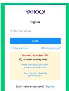 Yahoo-signin-page