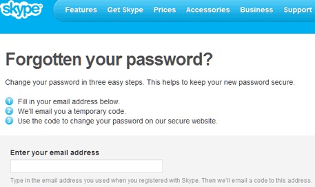 forgot Skype password