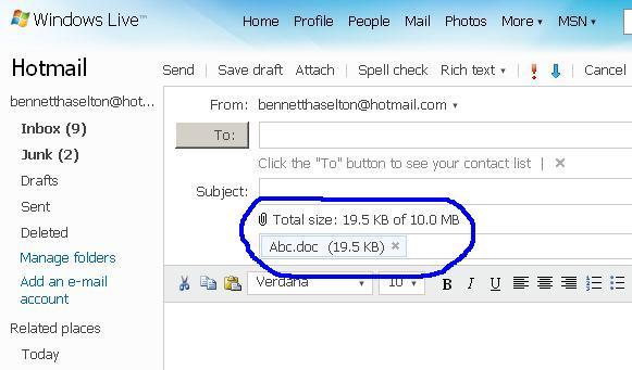 Hotmail Attachment limit